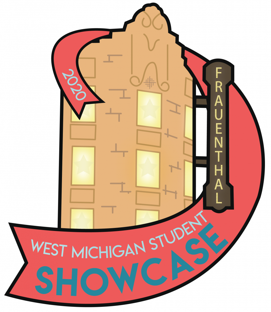 "Ribbon with text ""West Michigan Student Showcase 2020"" wrapped around the Frauenthal Center facade."